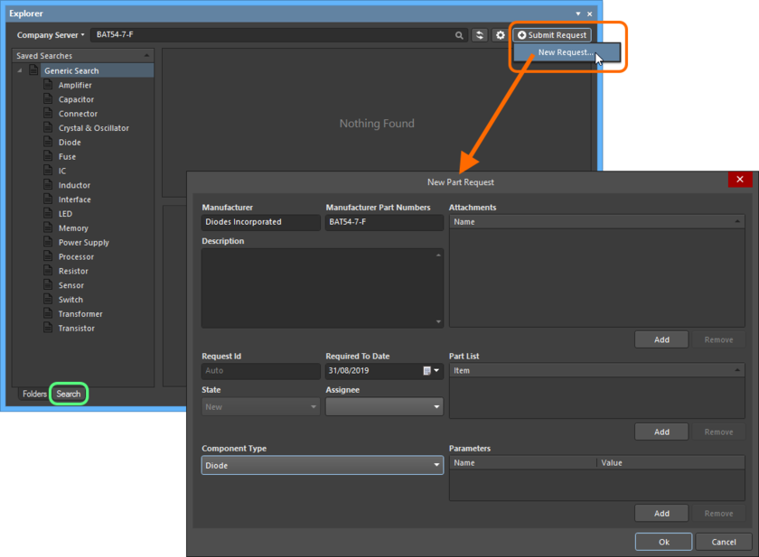 Adding a new part request directly from within Altium Designer, through the Explorer panel.