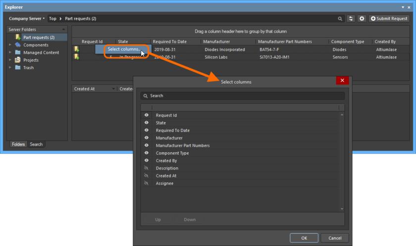 Диалоговое окно Select Columns – центр управления тем, какие данные отображаются в папке Part Requests.