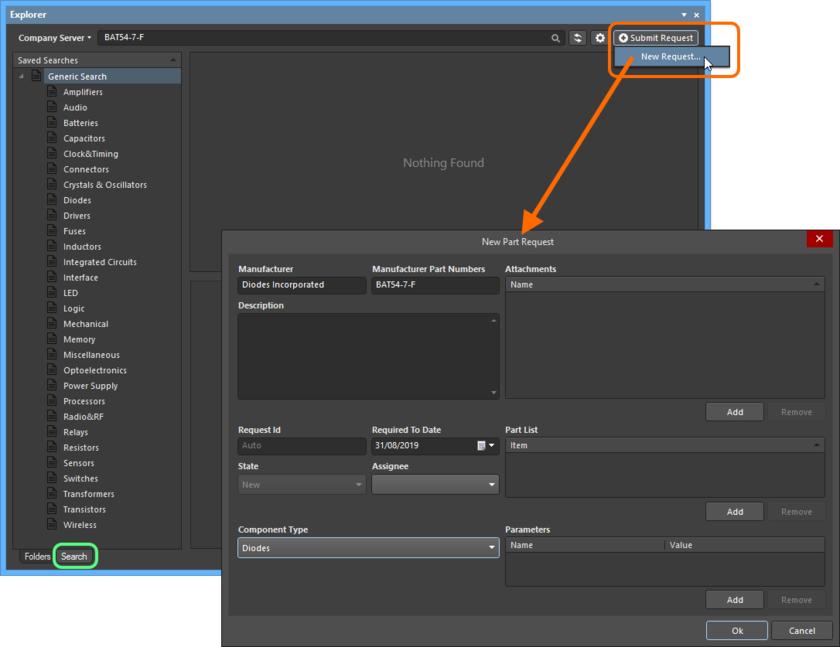 Добавление нового запроса компонента непосредственно из Altium Designer, через панель Explorer.