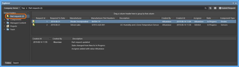 Пример запросов компонентов в папке Part Requests. Пользователь увидит компоненты, которые он запросил. Библиотекарь увидит компоненты, которые назначены ему, а также компоненты, которые еще никому не назначены.