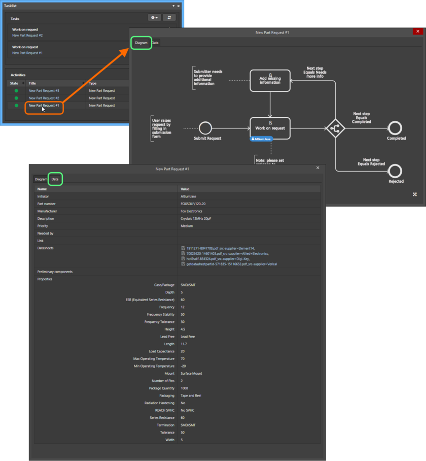Viewing the underlying workflow for a selected part request process on its Diagram tab. Each workflow is built diagrammatically allowing you to see at-a-glance where in the workflow a part request currently sits, and who now has the next task in order to continue progress of that request. Switch to the Data tab to see attachments for the request.