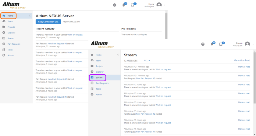 The relevant parties receive notification of part request creation, and any related tasks, through the Stream and Home pages of the server's browser interface.