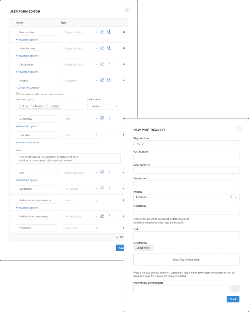 Example showing the New Part Request window when running the New Part Request process definition from within the server's browser interface. The content of the window is determined to a great extent from the underlying form for the Start element of that definition's process workflow.