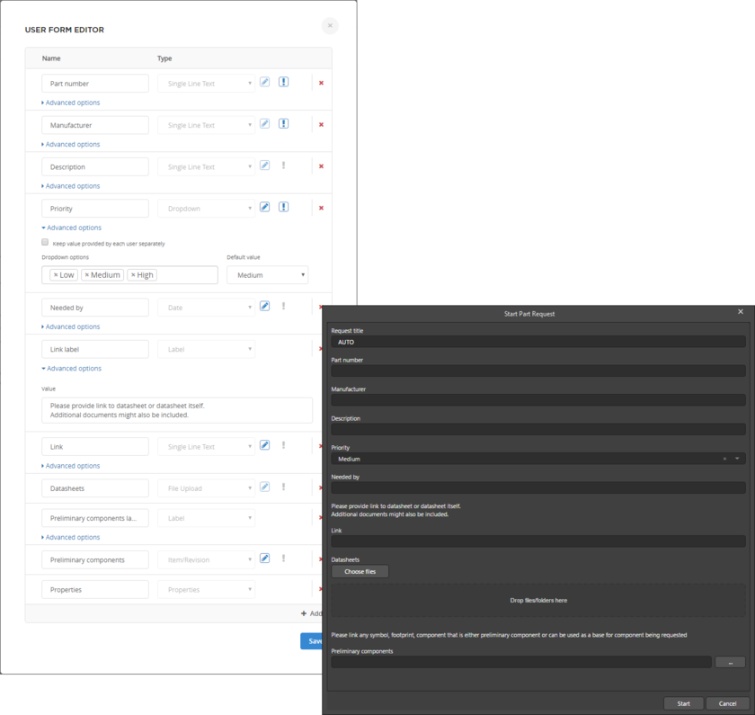Example showing the Start Part Request dialog when running the New Part Request process definition from within the Components panel or Explorer panel. The content of the dialog is determined to a great extent from the underlying form for the Start element of that definition's process workflow.
