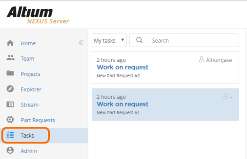 Example Part Request tasks currently assigned to, or available for assignment to, the user currently signed in to the NEXUS Server.
