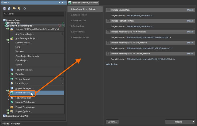 Открытие страницы Release – интерфейса пользователя средства выпуска Project Releaser.
