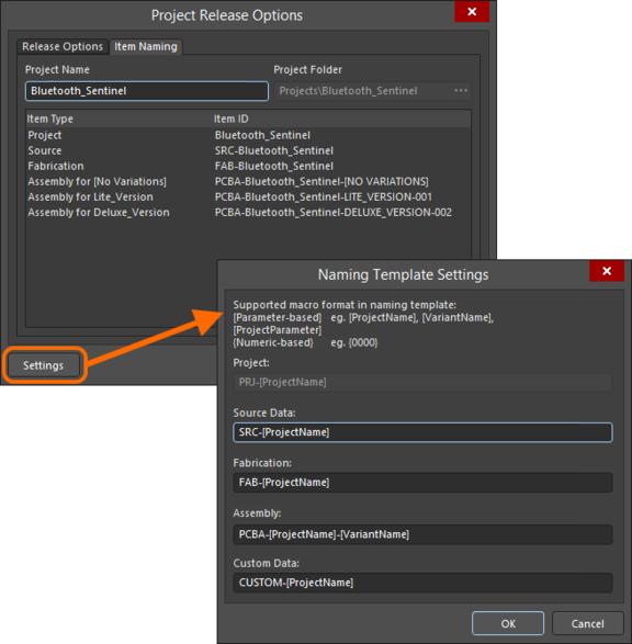 Задайте целевую папку и именование формируемых объектов на сервере управляемых данных.