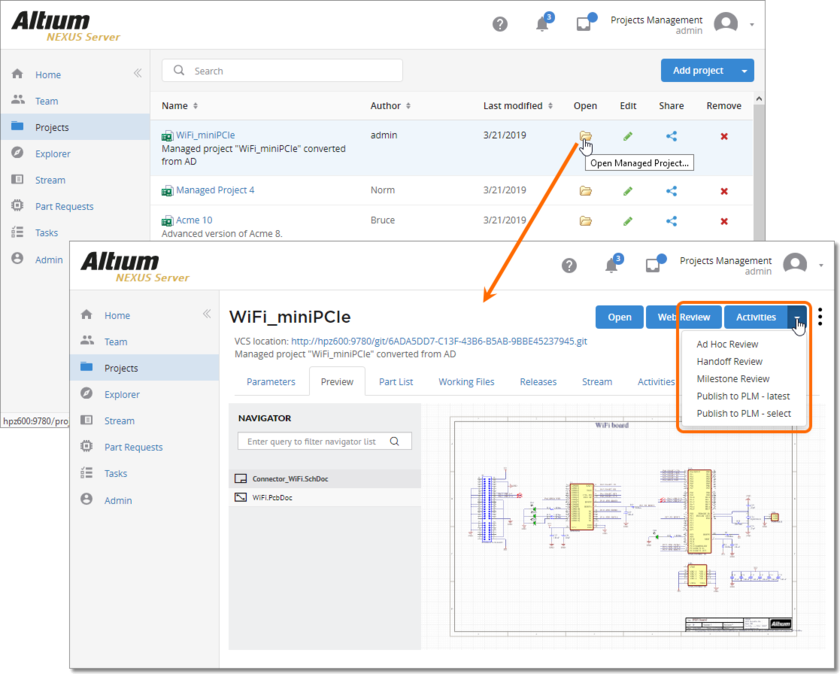 Accessing activated Project Activities definitions (design review and standard PLM publishing) from the detailed view for a managed project, within the Projects area of the NEXUS Server's browser interface.