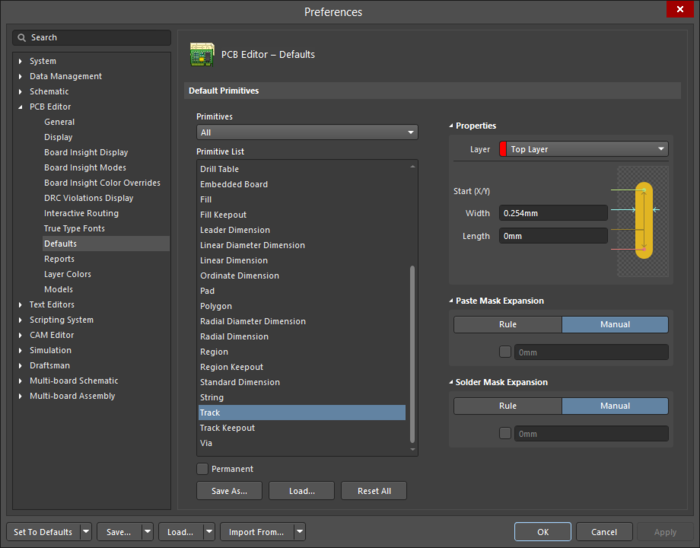 Use the Primitives column to access properties for objects and edit default values as required.