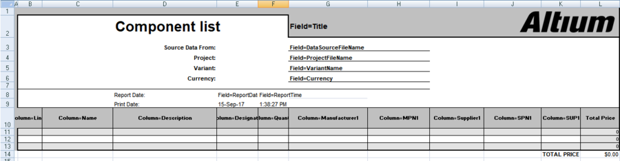 Example of a simple Excel template, showing how the design parameters are mapped into the template