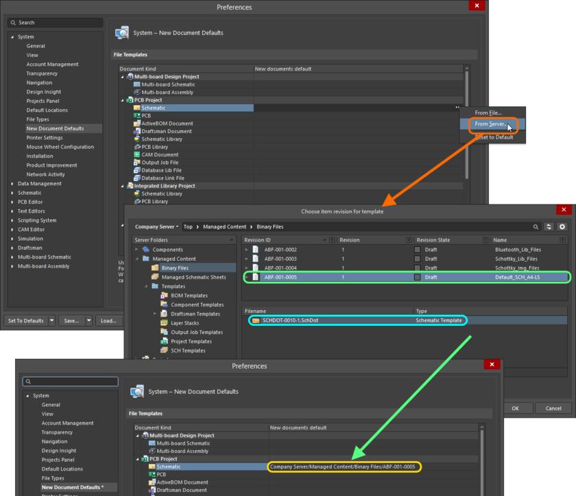 Использование объекта Schematic Template Item в качестве нового документа по умолчанию с помощью объекта Binary File Item, который содержит его.