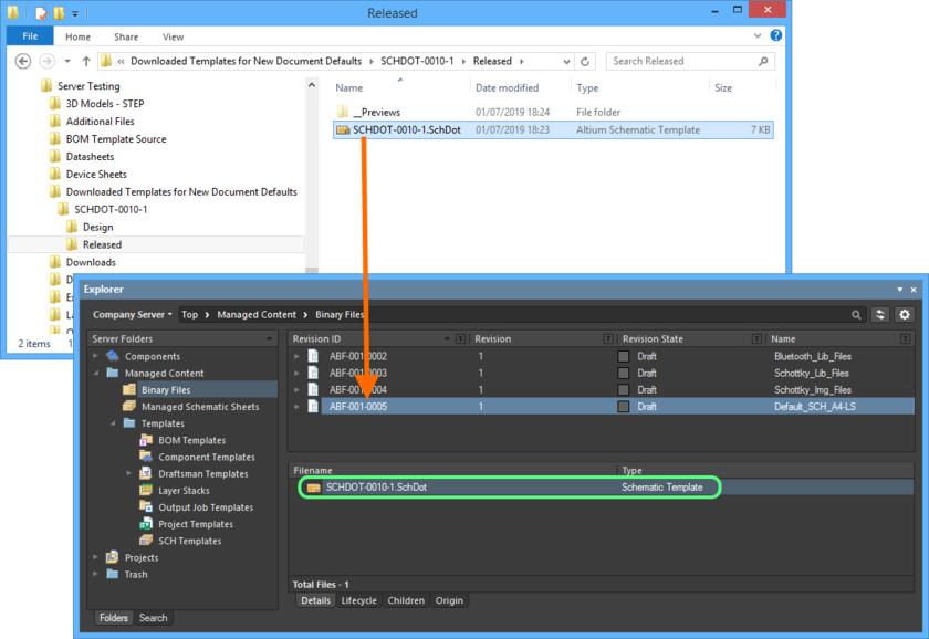 Выгрузка документа в начальную ревизию нового объекта Binary File Item.