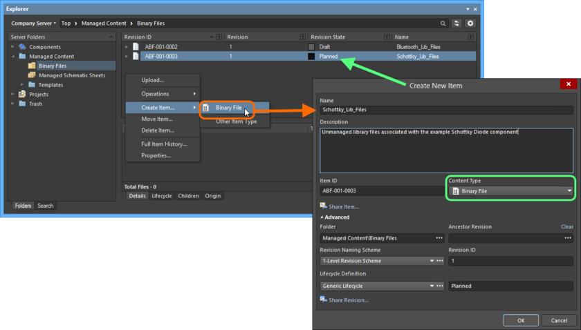 Создание объекта Binary File Item в папке Binary Files. Нужный тип содержимого (Content Type) доступен в контекстном меню.