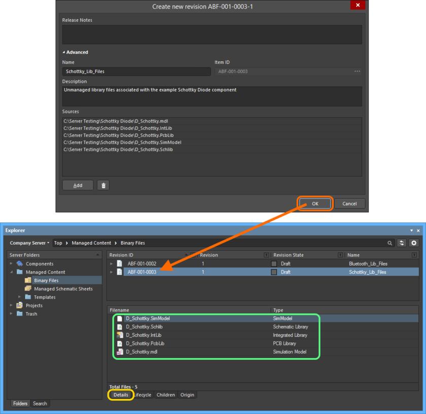 Выгруженный файл появится в списке на вкладке аспектного вида Details ревизии объекта Binary File Item.