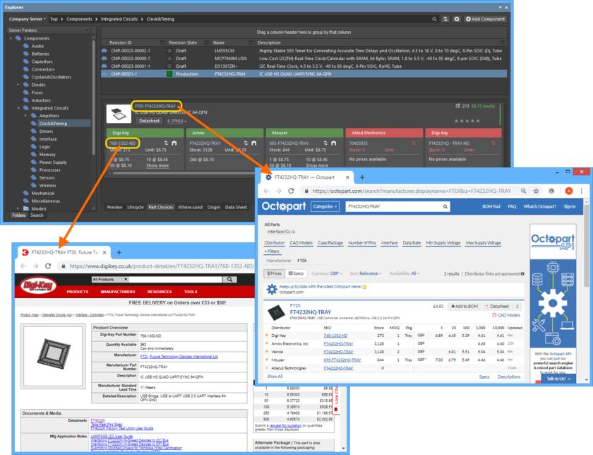 Пример интерактивных URL-адресов, связанных с вариантом выбора объекта компонента на сервере.