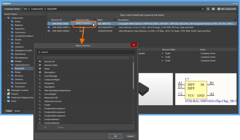 Диалоговое окно Select Columns является центром управления для определения того, такие параметрические данные должны быть отображены в режиме Components View. Наведите курсор мыши на изображение, чтобы увидеть пример, где выбраны дополнительные параметры и где на виде отображаются дополнительные столбцы.