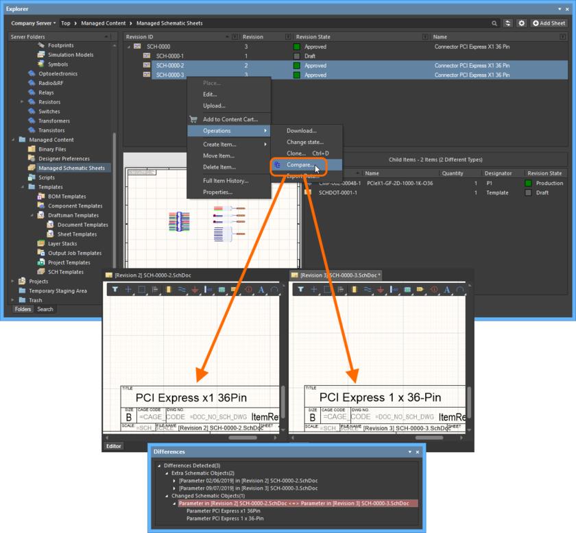 Пример сравнения двух ревизий объекта Managed Schematic Sheet Item.