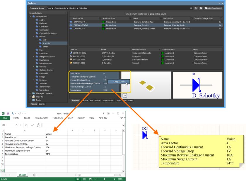 Скопируйте информацию о параметрах ревизии объекта Component Item в буфер обмена для ее последующего использования.