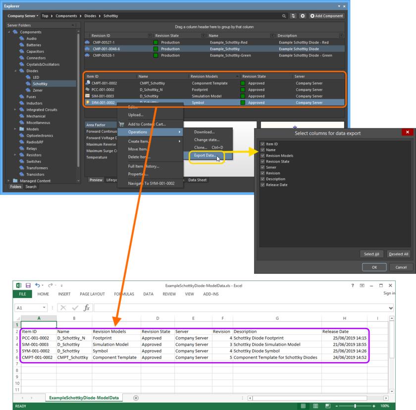Пример экспортированных данных (моделей, подключенных к выбранной ревизии объекта Component Item) в файл формата Excel.