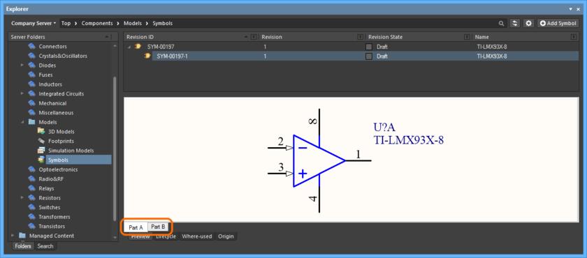 Просмотр секций объекта многосекционного компонента на уровне дочернего символа.