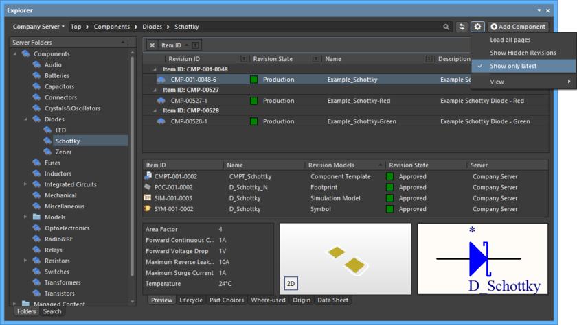 По умолчанию, в панели Explorer отображаются только самые новые ревизии объектов. Наведите курсор мыши на изображение, чтобы увидеть пример, когда соответствующая опция отключена.