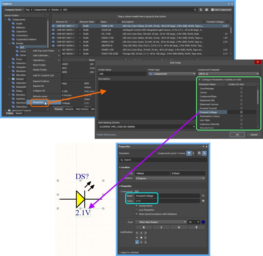 На уровне папки задайте, какие параметры должны быть видимыми при размещении в проекте компонентов, которые используют эти параметры.