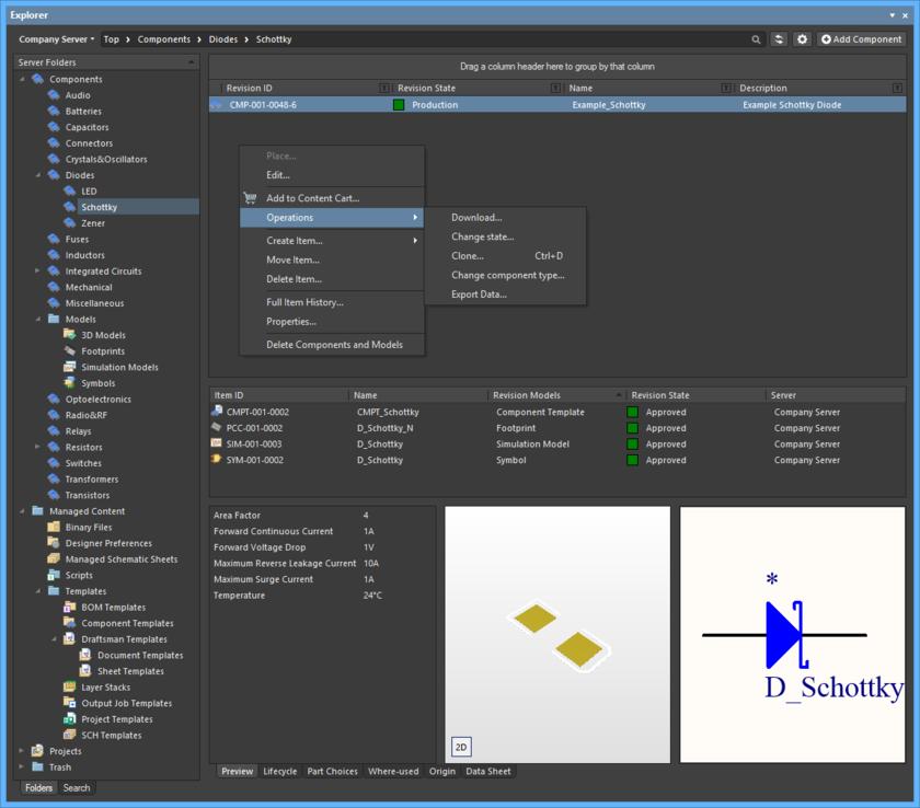 Панель Explorer предоставляет прямой интерфейс к серверу управляемых данных из Altium Designer.