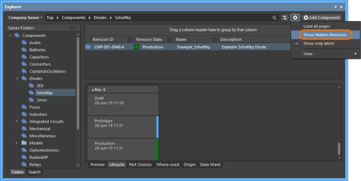 Отображение скрытых ревизий объектов при просмотре содержимого в панели Explorer. Наведите курсор мыши на изображение, чтобы увидеть результат.