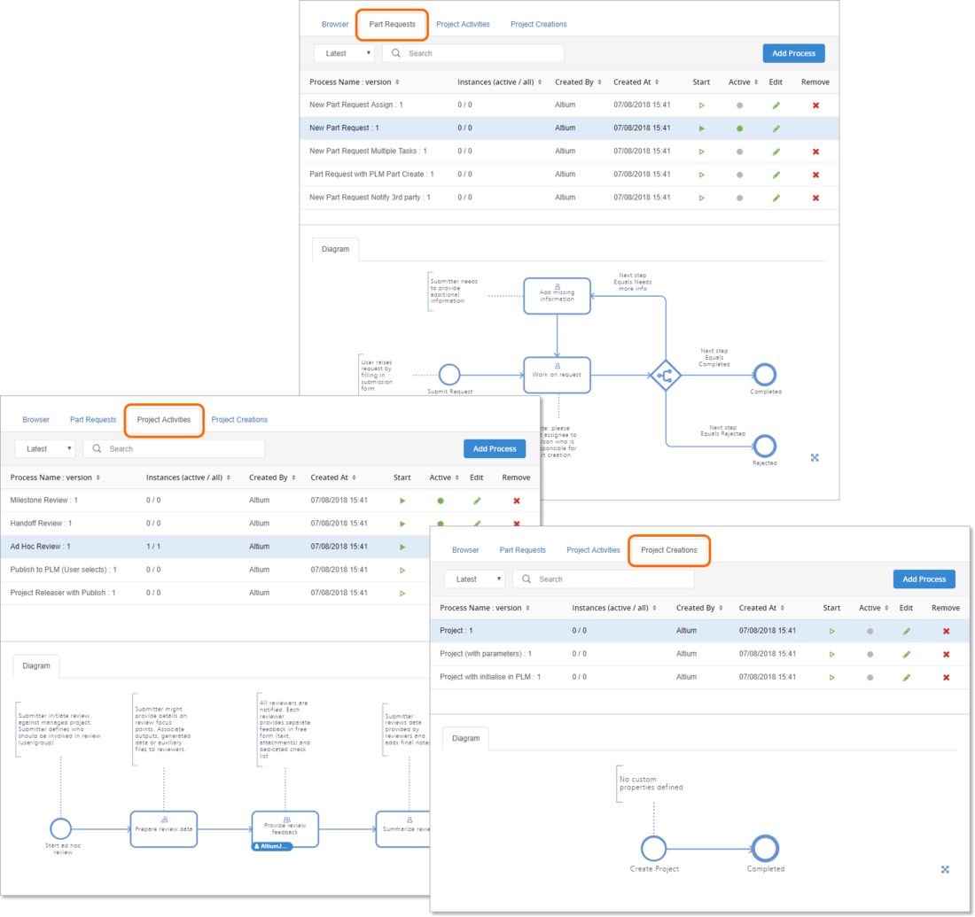 Create and manage process workflows for the three supported areas of the software – examples are provided as part of the installation of the NEXUS Server to get you up and running.