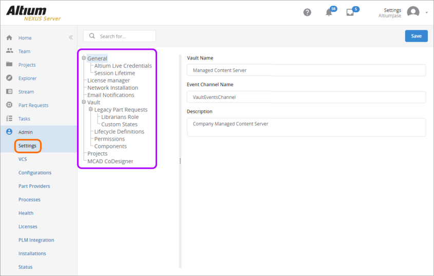 The Settings area – part of the admin-only pages within the NEXUS Server's browser-based interface.