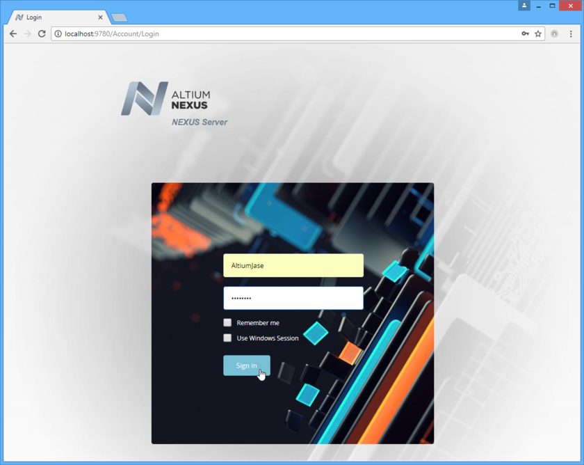 Access an Altium NEXUS Server, and its associated platform services, through a preferred external Web browser. Roll the mouse over the image to see the effect of successfully  signing in to the interface.