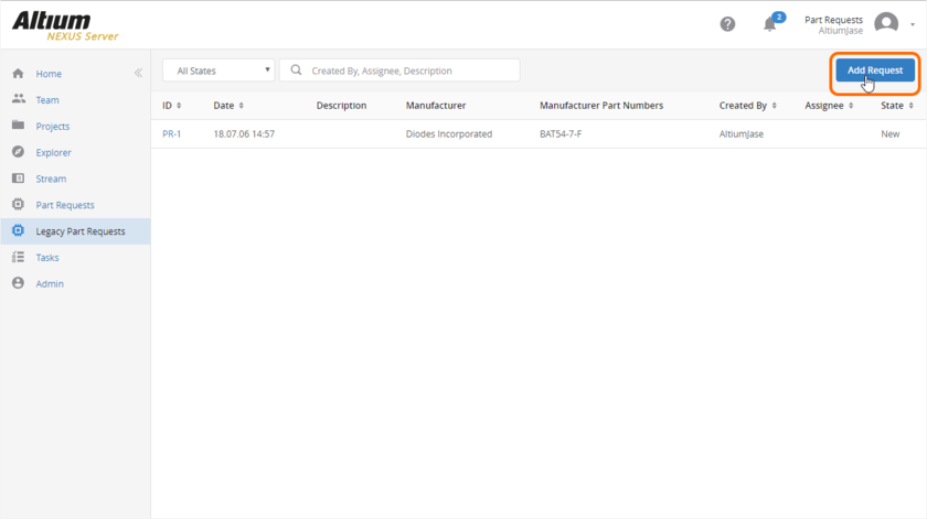 Adding a new part request through the managed content server's browser interface. Hover over the image to see the form presented to receive the details of the request.