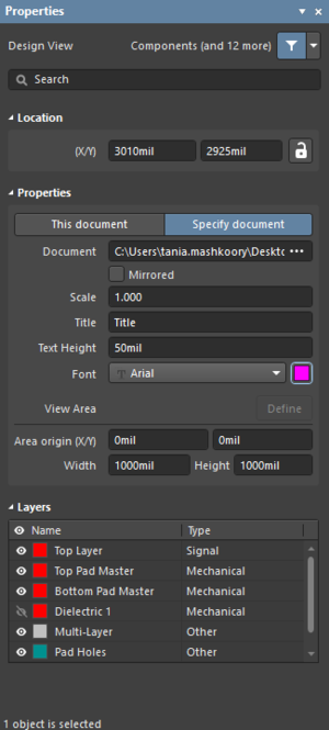 The Design Viewdialog on the left and the Design Viewmode of theProperties panel on the right