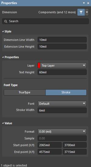 The Dimension dialog on the left and the Dimension mode of the Properties panel on the right