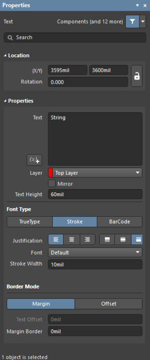 The Text dialog on the left and the Text mode of the Properties panel on the right.
