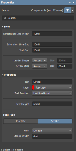 The Leader dialog on the left and the Leader Dimension mode of the Properties panel on the right