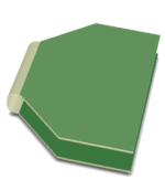 Two bending Lines have been defined, allowing this rigid-flex board to be displayed in its folded state.