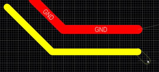 Track objects are used for routing and for general purpose drawing lines. There are 4 placed track segments in  the image above, and another in the process of being placed.