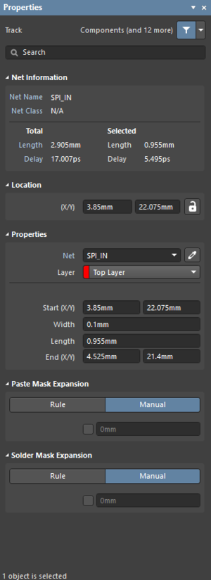 The Track dialog on the left and the Track mode of the Propertiespanel on the right.