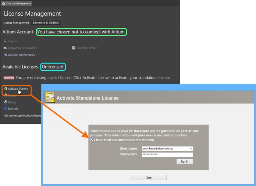С помощью диалогового окна Activate Standalone License установите временное подключение к Altium, чтобы быстро активировать лицензию Standalone.