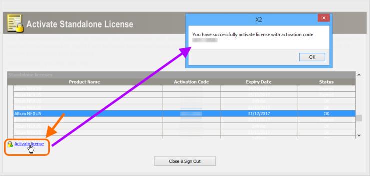 Успешная активация лицензии Standalone.
