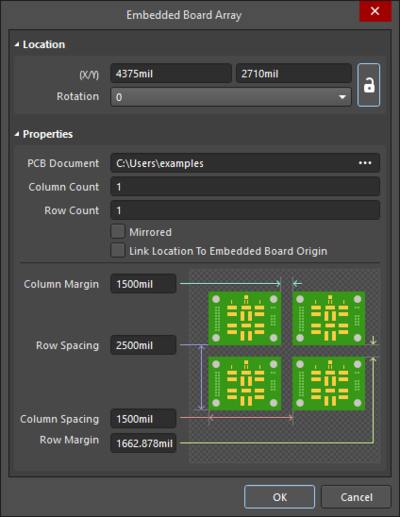 The Embedded Board Array dialog on the left and theEmbedded Board Array mode of the Properties panel on the right