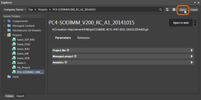 Opening a Managed Project through the Altium Designer Explorer panel.