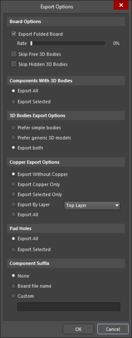 Export Options dialog accessed through PARASOLID