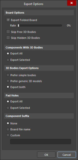 Export Options dialog accessed through VRML