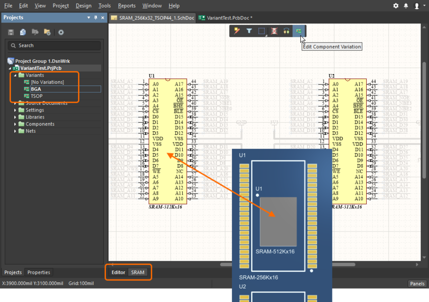 The schematic editor's physical design view. The dim level for the un-editable objects is set in the Schematic – Compiler page of the Preferences dialog.