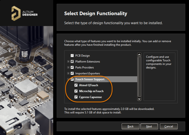 Add Touch Sensor support as part of initial installation of Altium Designer.