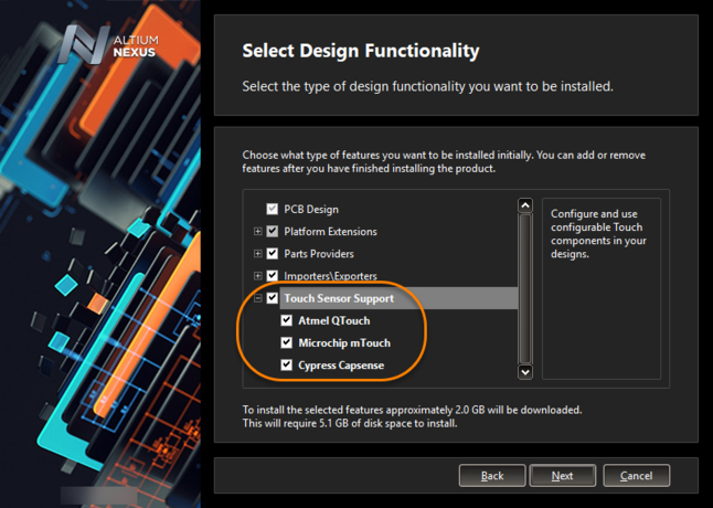 Add Touch Sensor support as part of initial installation of Altium NEXUS.