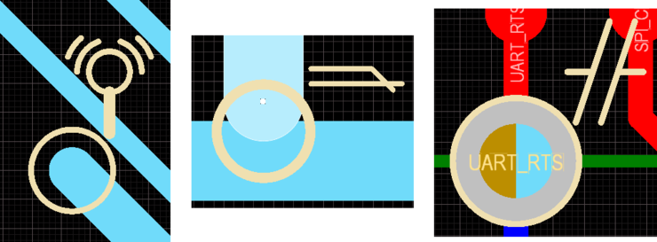 Additional examples of custom violation graphics. From left to right: Net Antennae violation; Short-Circuit violation; Un-Routed Net violation.