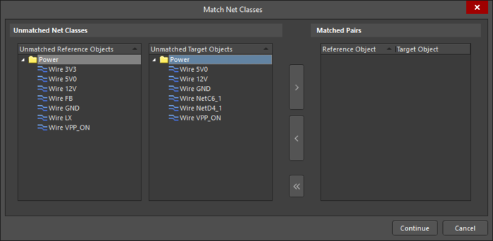 The Match dialog is used to manually match objects that you know to be matched. Leave the right side empty and click Continue if you are unsure.